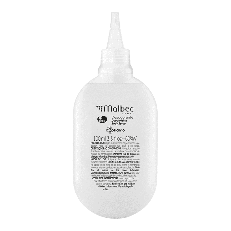 Refil Desodorante Body Spray Malbec Sport, 100ml