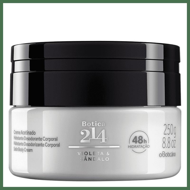 Creme Acetinado Desodorante Hidratante Corporal Botica 214 Violeta & Sândalo 250g