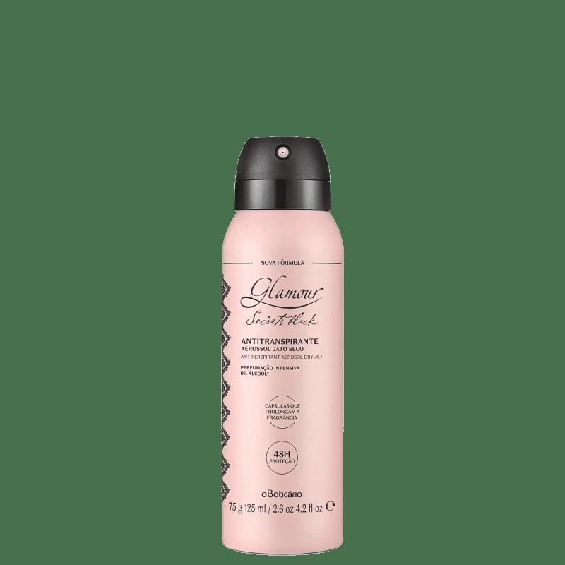 Desodorante Antitranspirante Aerossol Glamour Secrets Black 75g