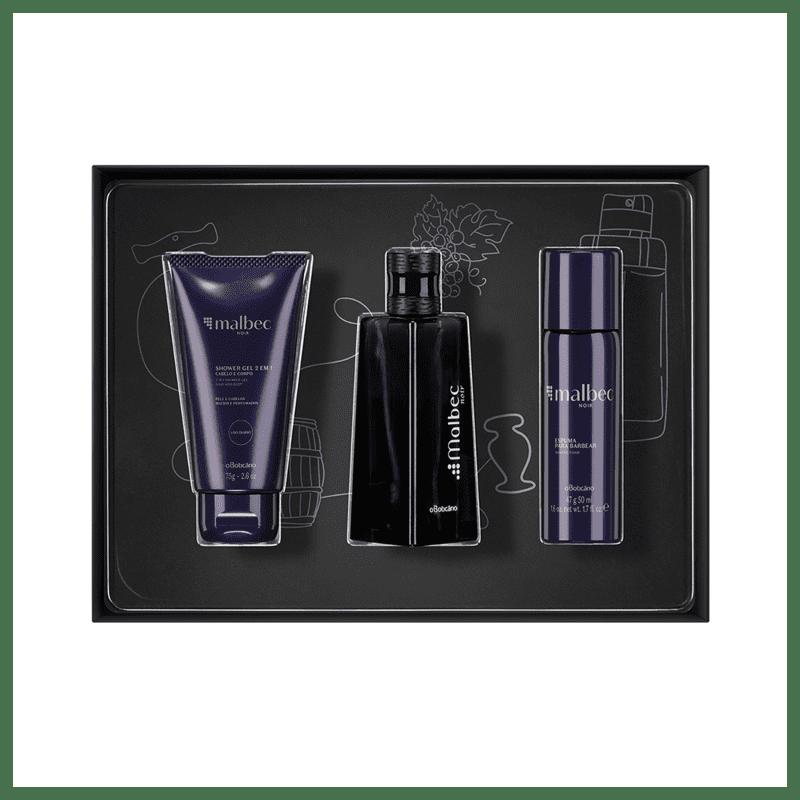 Kit Presente Malbec Noir Miniatura:  Desodorante Colônia 50ml + Gel Espuma para Barbear 47g + Shower Gel Corporal 75g