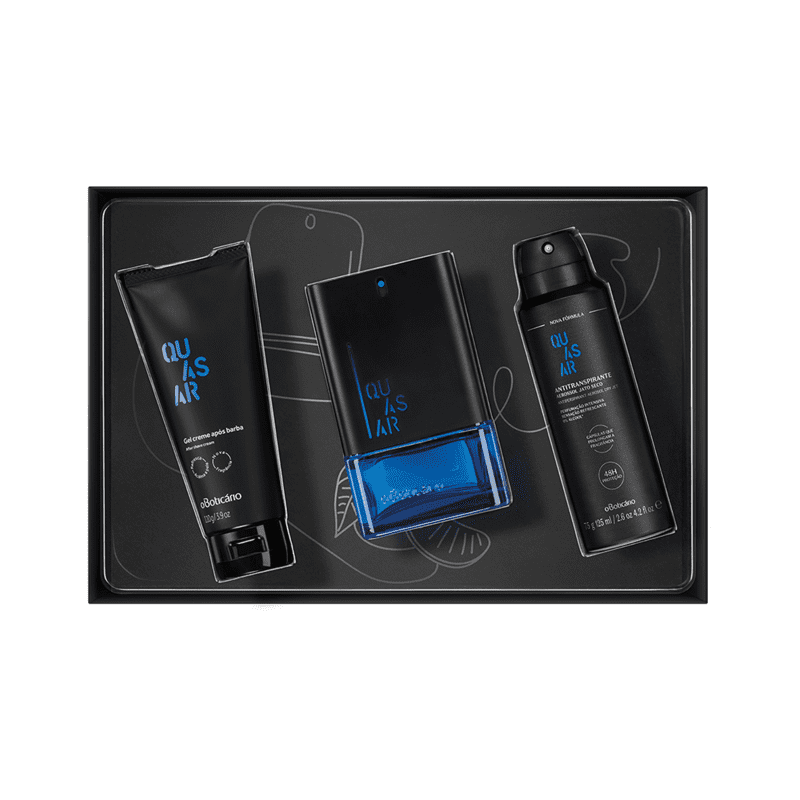 Kit Presente Quasar: Desodorante Colônia 100ml + Gel Após Barba 110g + Desodorante Antitranspirante Aerossol 75g.
