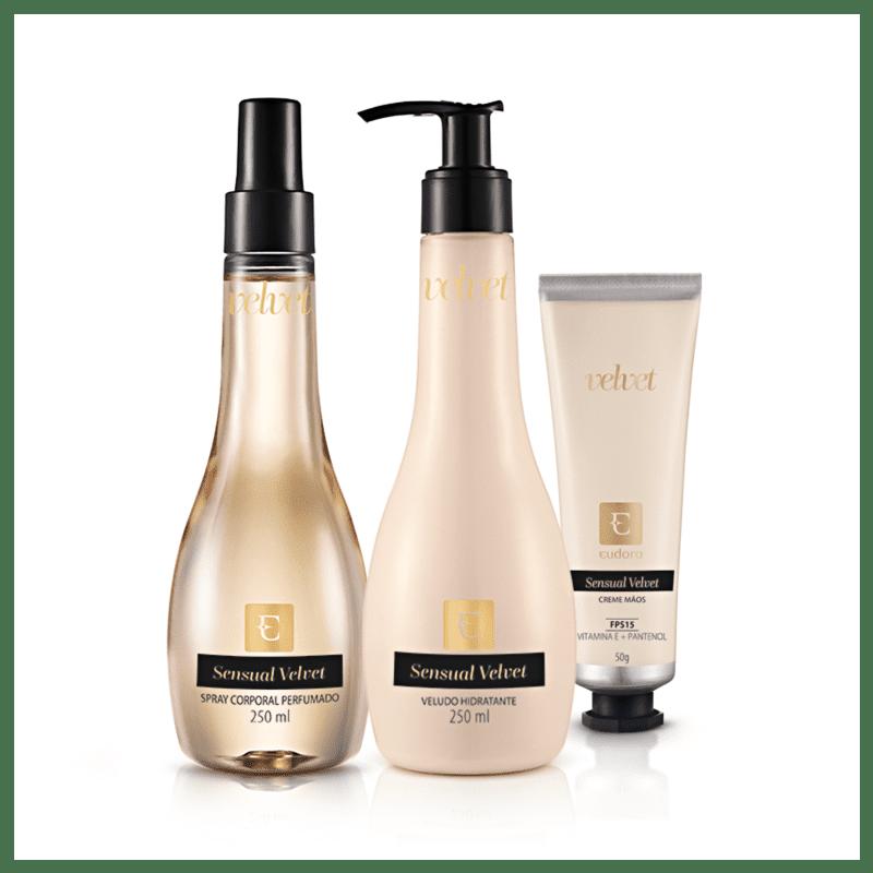 Kit Sensual Velvet: Desodorante Colônia + Loção Desodorante Hidratante + Creme para Mãos
