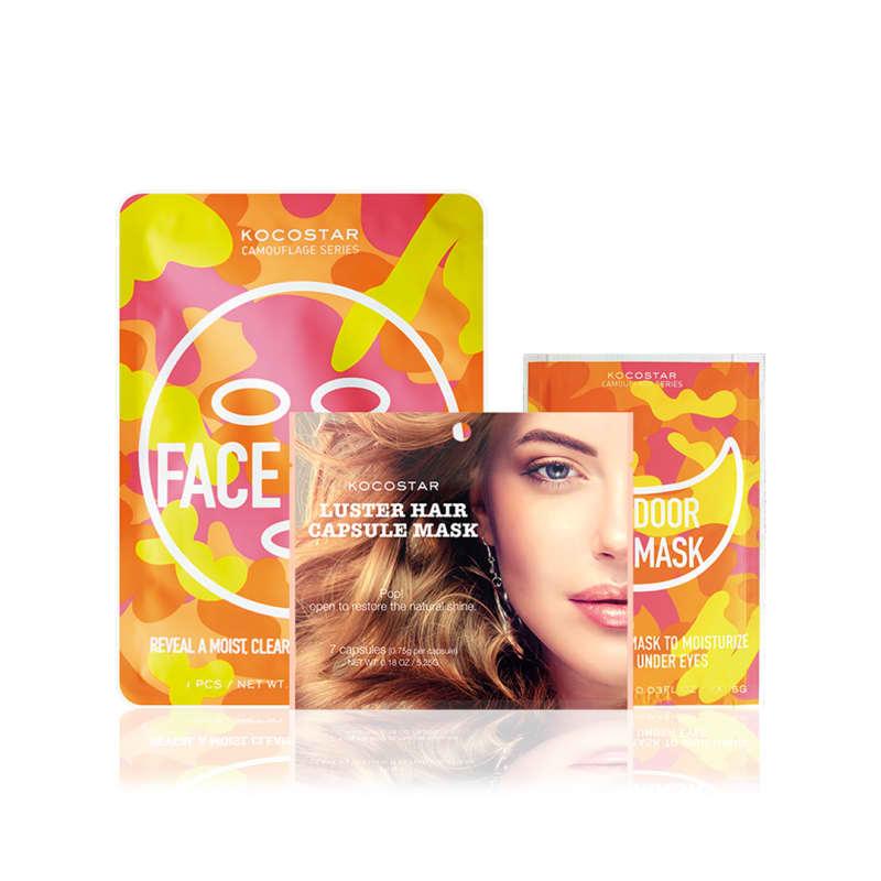 Kocostar - Kit de máscaras faciais + cabelo (3 produtos)