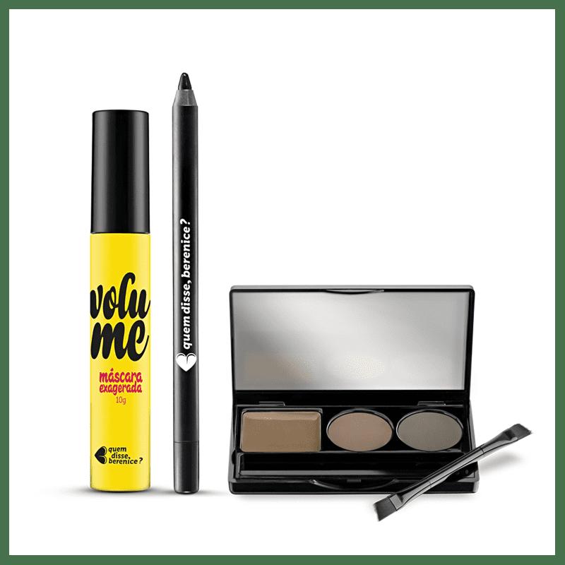 Kit Paleta Sobrancelha Escurete + Máscara Exagerada Volume + Lápis Olhos Pretuco + Caixa Cubo M