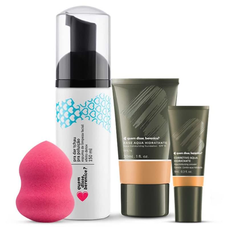 Kit Corretivo Aqua cor 02 + Base Aqua cor 03F + Espuma de Limpeza Tchau Poluição + Esponja Facial