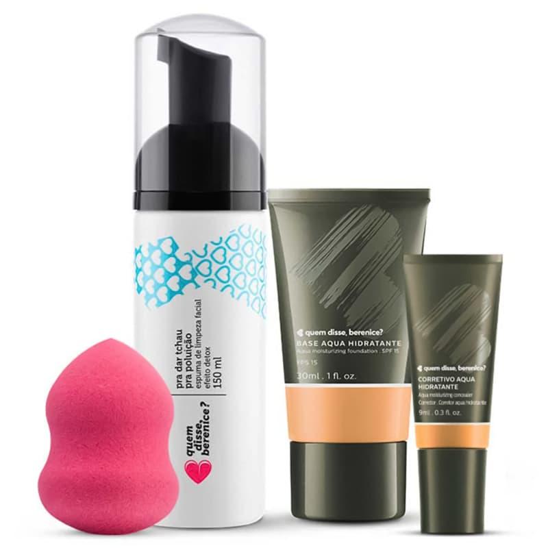 Kit Corretivo Aqua cor 02 + Base Aqua cor 02Q + Espuma de Limpeza Tchau Poluição + Esponja Facial