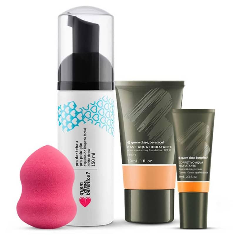 Kit Corretivo Aqua cor 05 + Base Aqua cor 04Q + Espuma de Limpeza Tchau Poluição + Esponja Facial