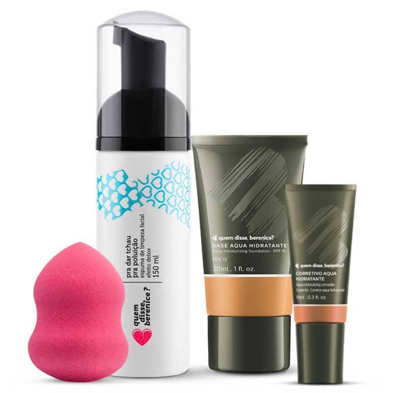 Kit Corretivo Aqua cor 09 + Base Aqua cor 09Q + Espuma de Limpeza Tchau Poluição + Esponja Facial