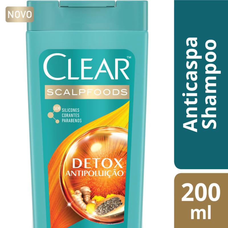 Shampoo Anticaspa Clear Detox Antipoluição 200ml