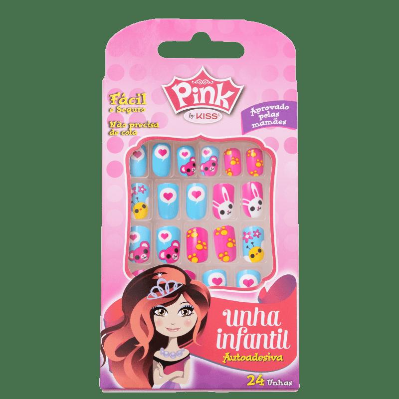 Kiss New York Pink Infantil Pop Princess Bichinhos - Unhas Postiças