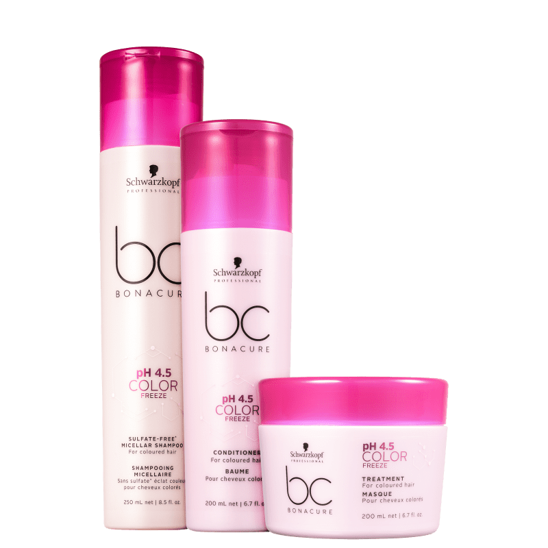 Kit Schwarzkopf Professional BC Bonacure pH 4.5 Color Freeze Sulfate-Free Home Care Trio (3 Produtos)