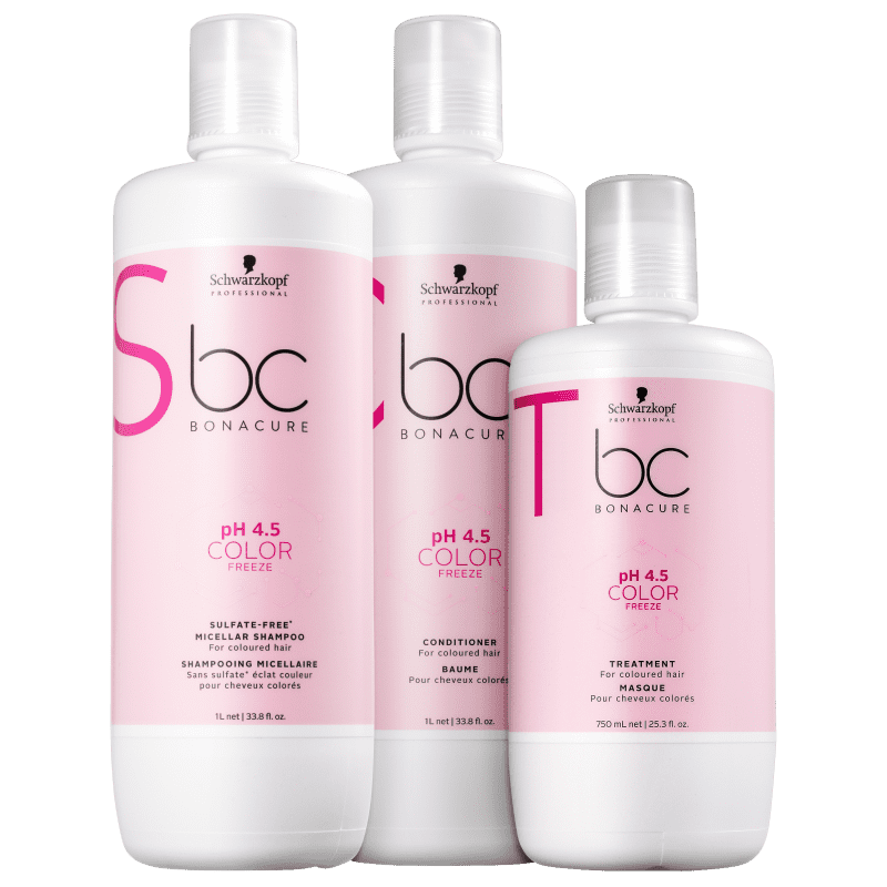 Kit Schwarzkopf Professional BC Bonacure pH 4.5 Color Freeze Sulfate-Free Salon Trio (3 Produtos)