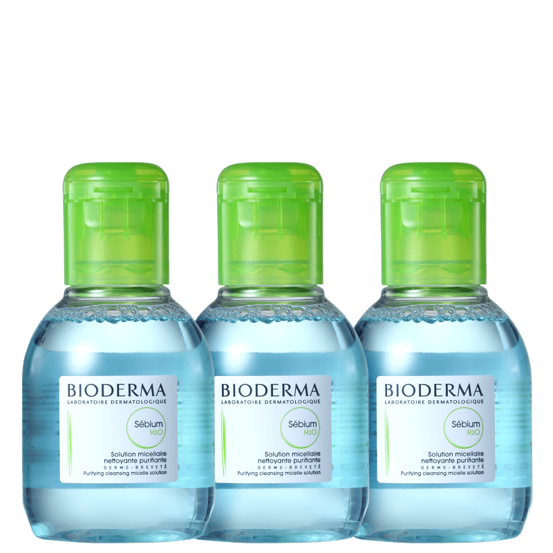 Kit Bioderma Sébium H2O Fresh - Demaquilantes 3x100ml