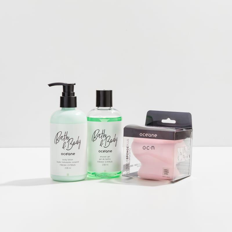Kit Corpo Fresh Citrus - Shower Gel, Body Lotion e Esponja Octopus Plus