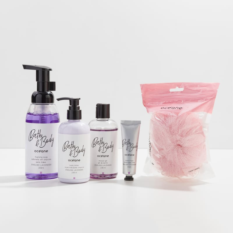 Kit Bath & Body English Lavender Completo + Esponja de Banho