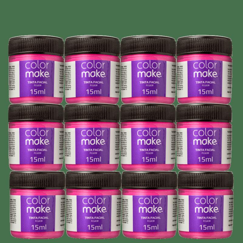 Kit Colormake Fluorescente Pink - Tinta Líquida 12x15ml