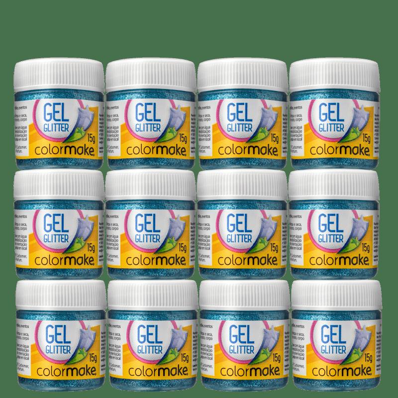 Kit Colormake em Gel Azul - Glitter 12x15g