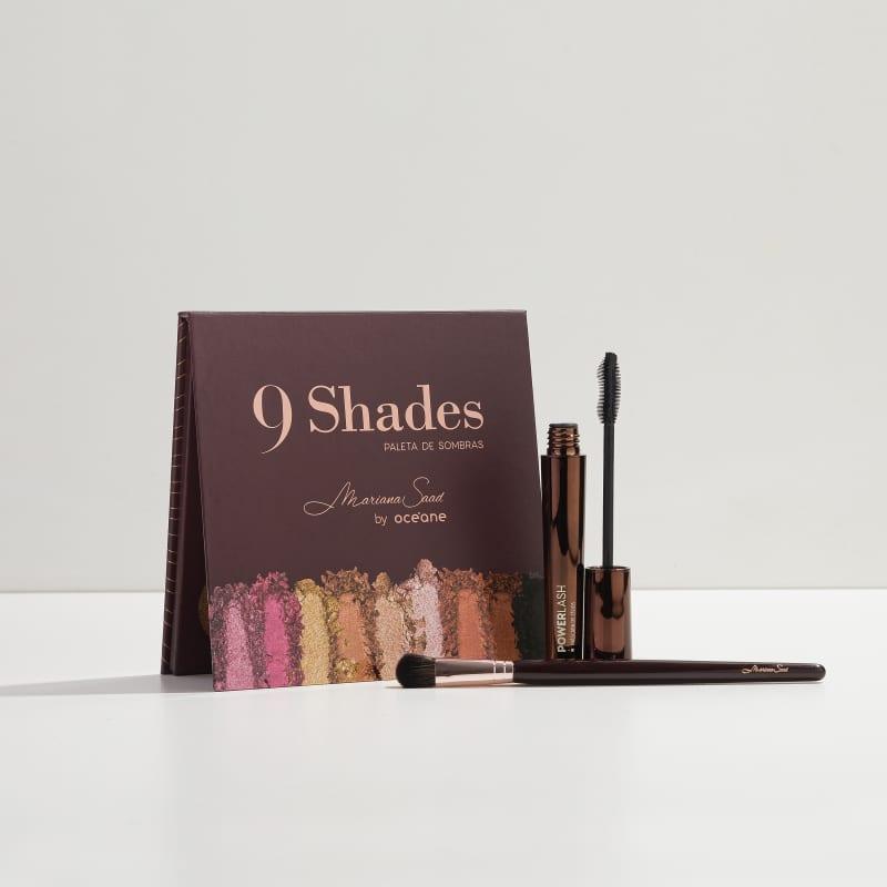 Kit Paleta 9 Shades + Máscara para Cílios + Pincel