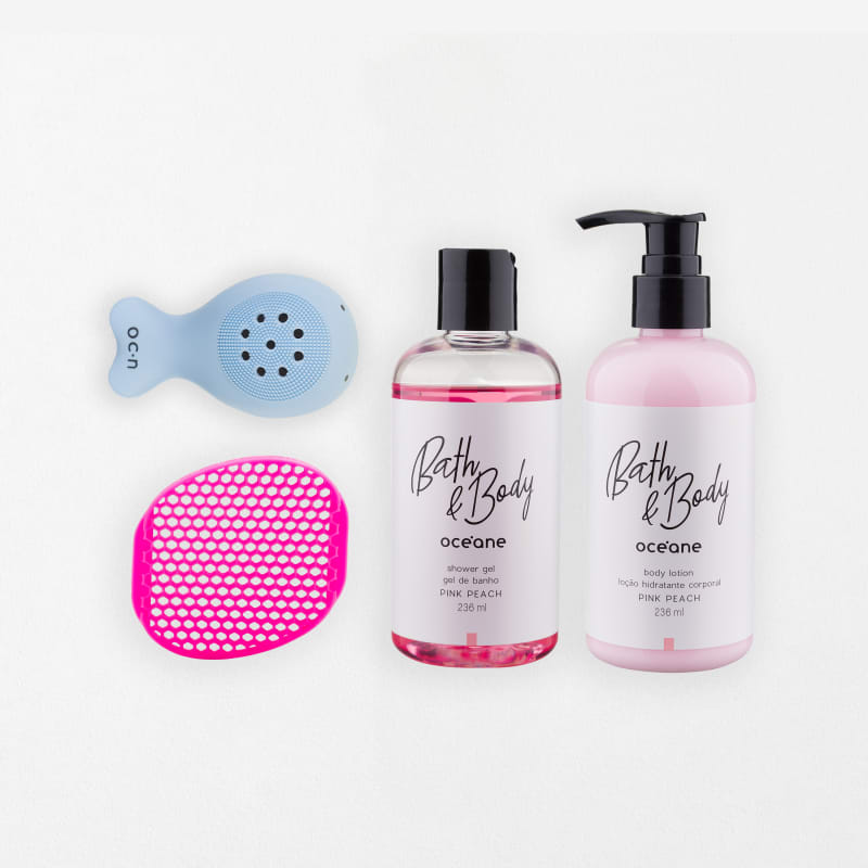 Kit Body Silicone Sponge + Body Lotion + Shower Gel + Whale Sponge