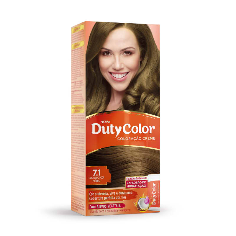 DutyColor 7.1 Louro Cinza Médio - Coloração Permanente