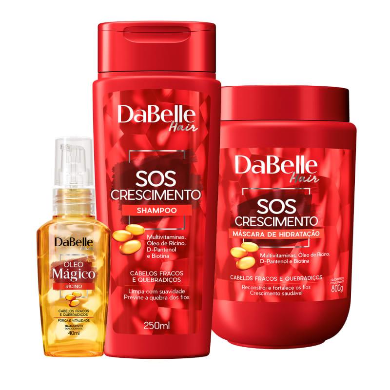 Kit DaBelle Hair SOS Crescimento Rícino Trio (3 Produtos)