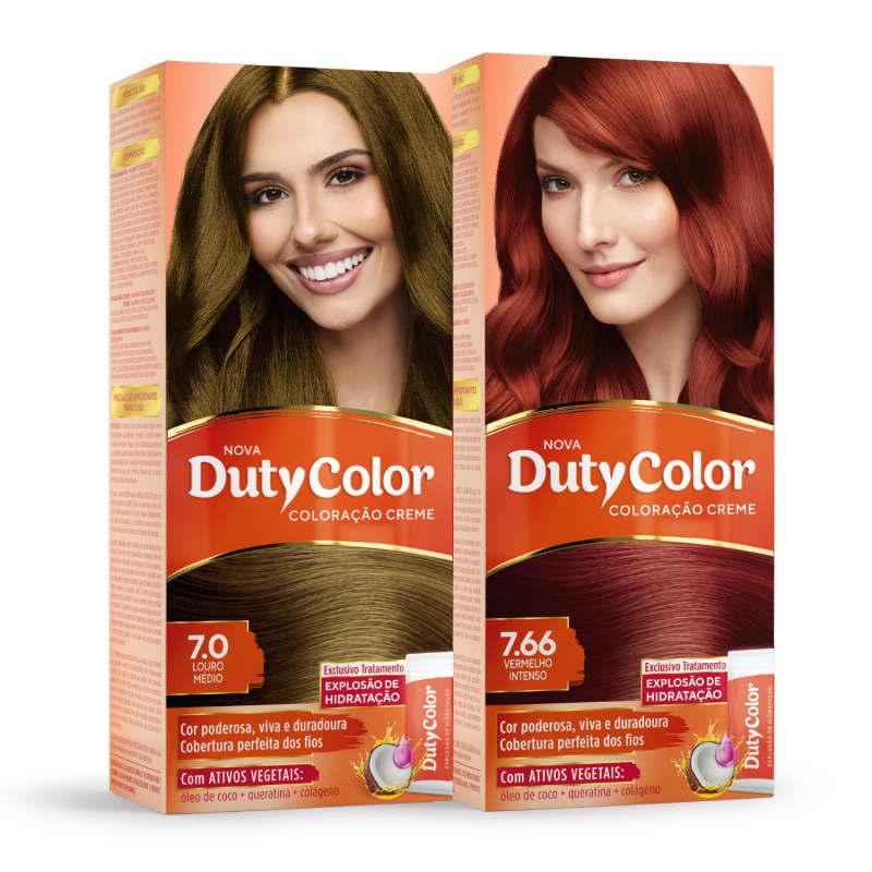 Kit DutyColor 7.0 Louro Médio & 7.66 Vermelho Intenso - Coloração Permanente (2 Unidades)