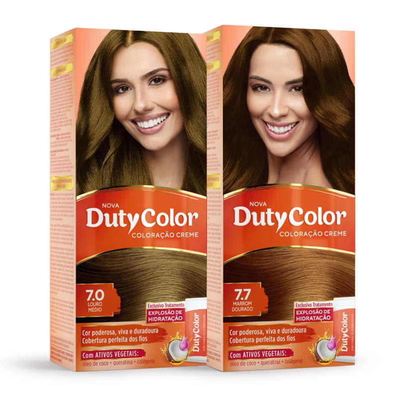Kit DutyColor 7.0 Louro Médio & 7.7 Marrom Dourado - Coloração Permanente (2 Unidades)
