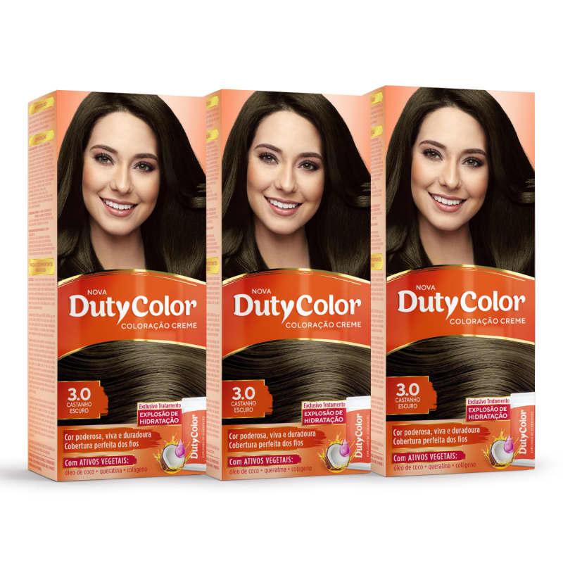 Kit DutyColor 3.0 Castanho Escuro Trio - Coloração Permanente (3 Unidades)