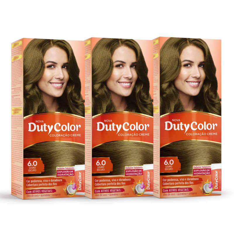 Kit DutyColor 6.0 Louro Escuro Trio - Coloração Permanente (3 Unidades)