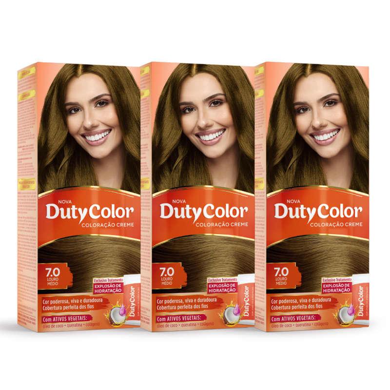 Kit DutyColor 7.0 Louro Médio Trio - Coloração Permanente (3 Unidades)