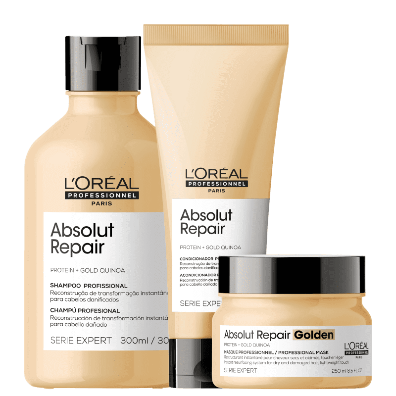 Kit L'Oréal Professionnel Serie Expert Absolut Repair Gold Quinoa + Protein Golden Trio (3 Produtos)