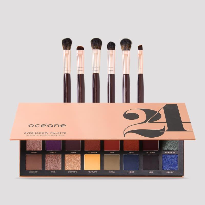 Paleta 24 Eyeshadow Palette + Pincéis de Olhos Mariana Saad (7 produtos)