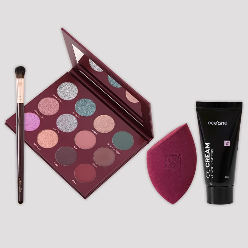 Kit 12 Shades + Pincel MS8 + Flat Blend + CC Cream