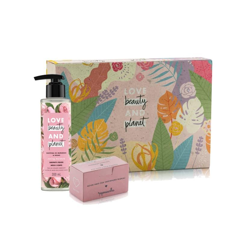 Kit Love Beauty and Planet Sabonete Líquido Caring e Caixa de mensagens (3 produtos)