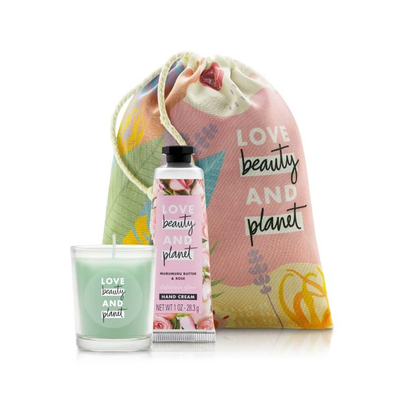 Kit Love Beauty and Planet Creme de mão Delicious Glow e Vela (3 produtos)