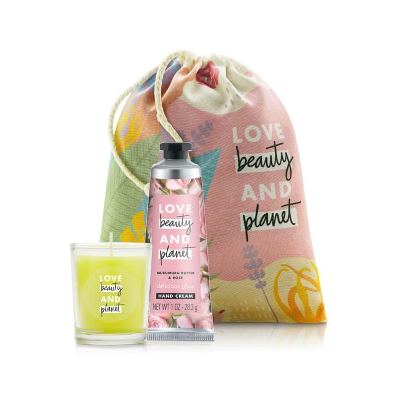 Kit Love Beauty and Planet Creme de mão Smooth & Serene e Vela em saquinho (3 produtos)