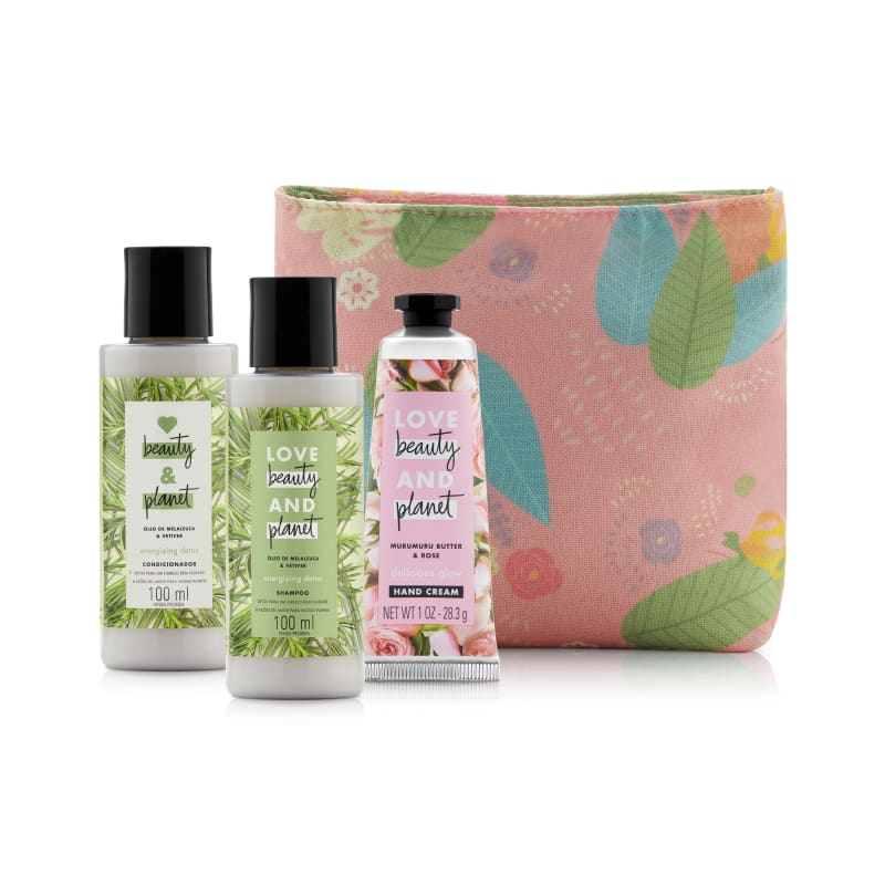 Kit Love Beauty and Planet Energizing Detox 100ml e Necessarie (4 produtos)