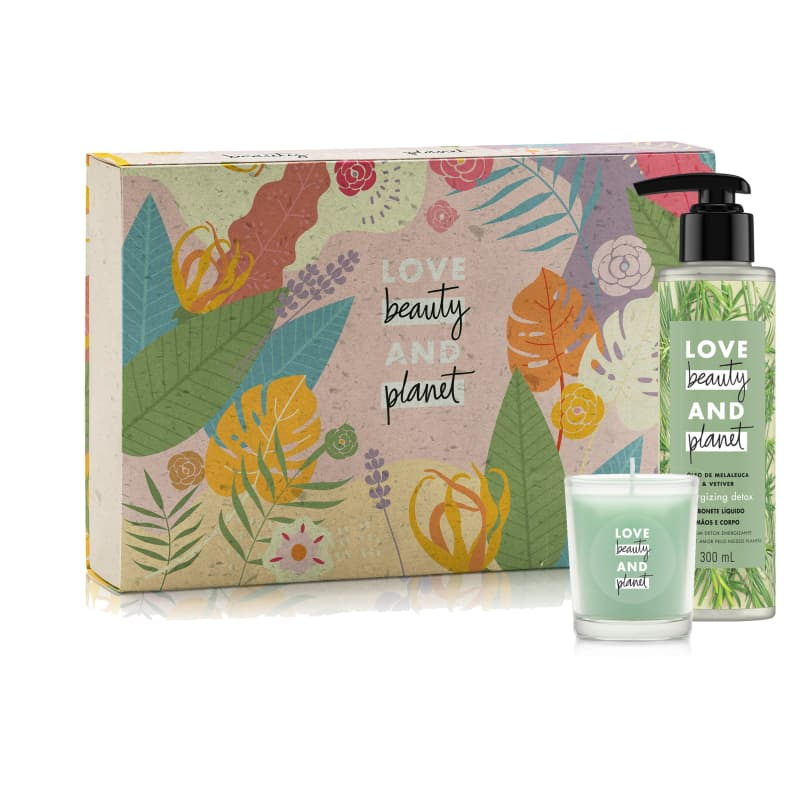 Kit Love Beauty and Planet Sabonete Líquido Detox e Vela (3 produtos)