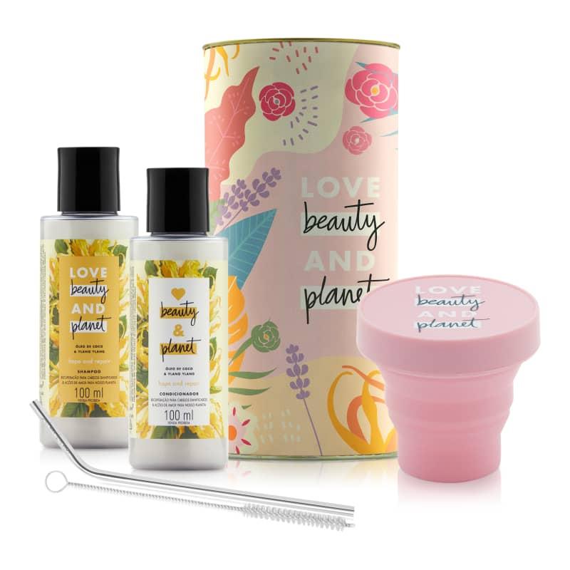 Kit Love, Beauty and Planet - Shampoo + Condiciondor 100ml Hope and Repair + Lata + Canudo Inox + Copinho