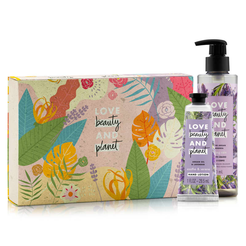 Kit Love, Beauty and Planet - Sabonete líquido Relaxing Rain + Creme de Mãos Soothe and Serene + Caixa