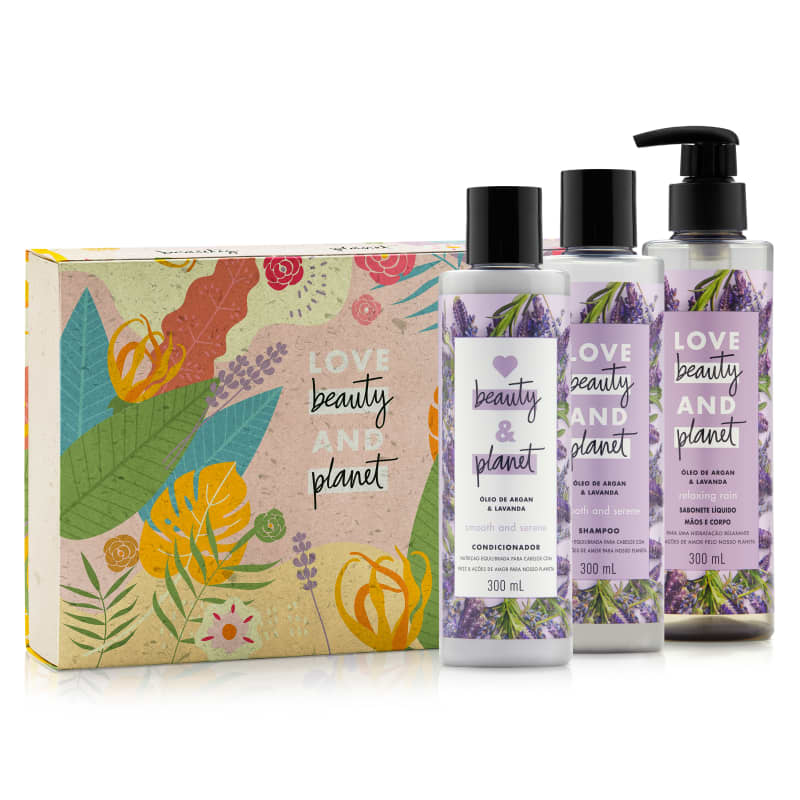 Kit Love, Beauty and Planet - Shampoo + Condicionador Smooth and Serene +  Sabonete Relaxing Rain