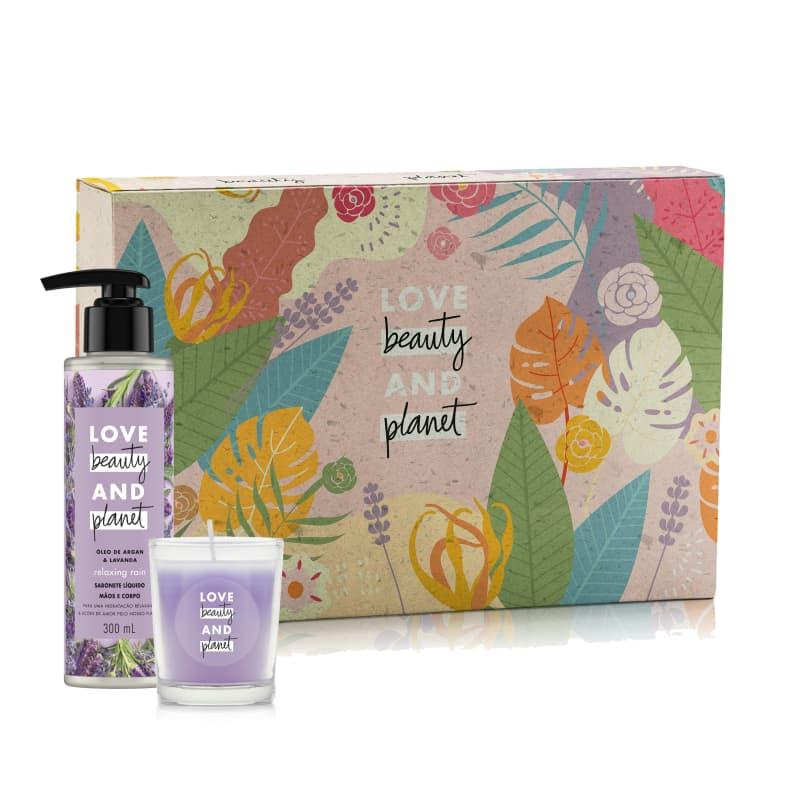 Kit Love Beauty and Planet Sabonte Líquido Relaxing Rain e Vela em Caixa (3 produtos)