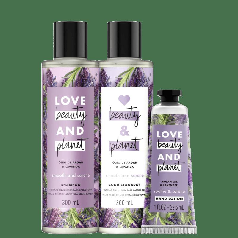 Kit Love, Beauty and Planet - Shampoo + Condicionador 300ml Smooth and Serene + Creme de mãos Soothe and Serene
