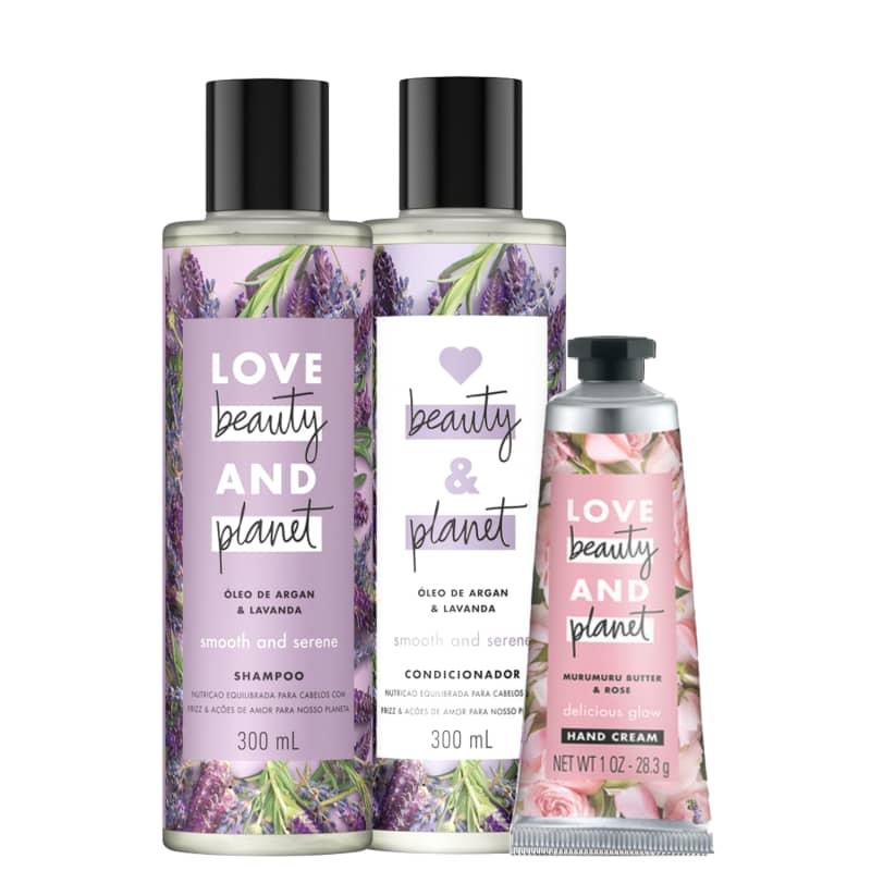 Kit Love, Beauty and Planet - Shampoo + Condicionador Smooth and Serene + Creme de mãos Delicious Glow