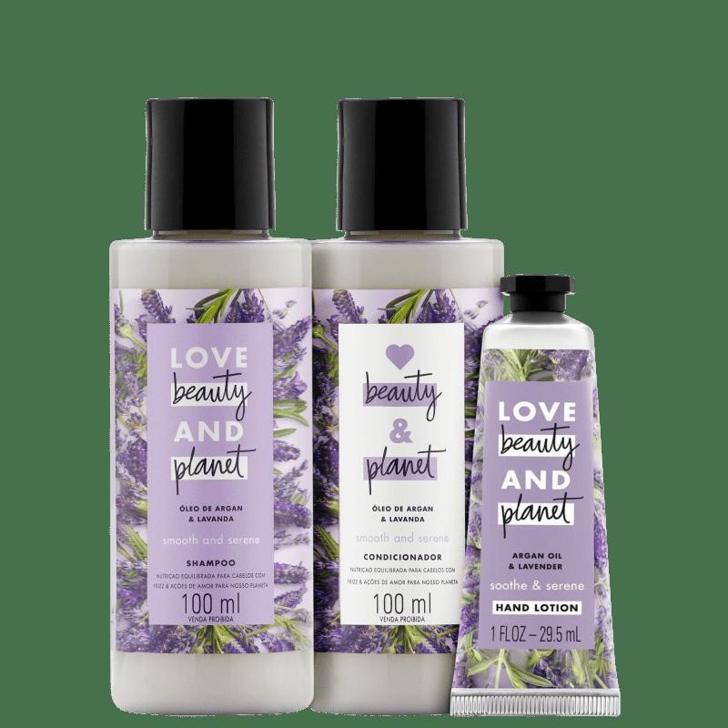 Kit Love, Beauty and Planet - Shampoo + Condicionador 100ml Smooth and Serene +  Creme de mãos Soothe and Serene