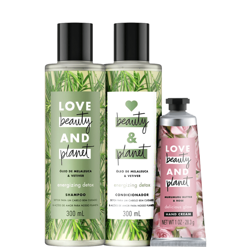 Kit Love, Beauty and Planet - Shampoo + Condicionador 300ml Energizing Detox + Creme de mãos Delicious Glow