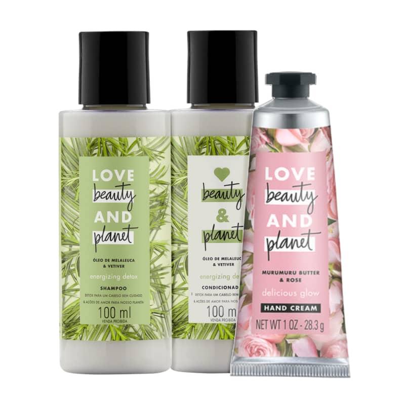 Kit Love, Beauty and Planet - Shampoo + Condicionador 100ml Energizing Detox + Creme de mãos  Delicious Glow