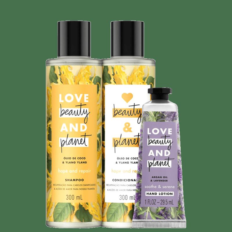 Kit Love, Beauty and Planet - Shampoo + Condicionador 300ml  Hope and Repair + Creme de mãos Sooth and Serene