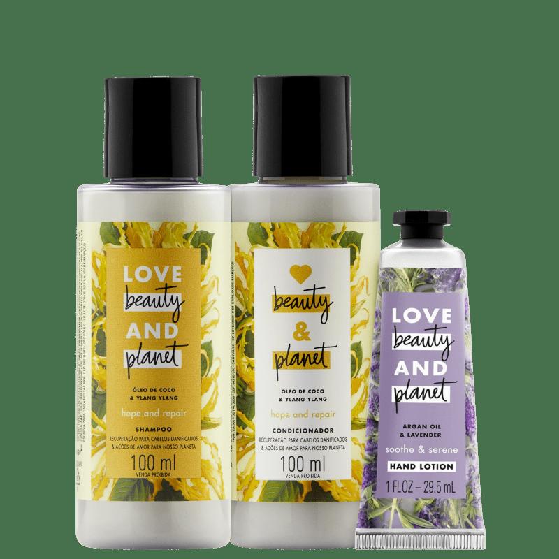 Kit Love, Beauty and Planet - Shampoo + Condicionador 100ml  Hope and Repair + Creme de mãos Sooth and Serene