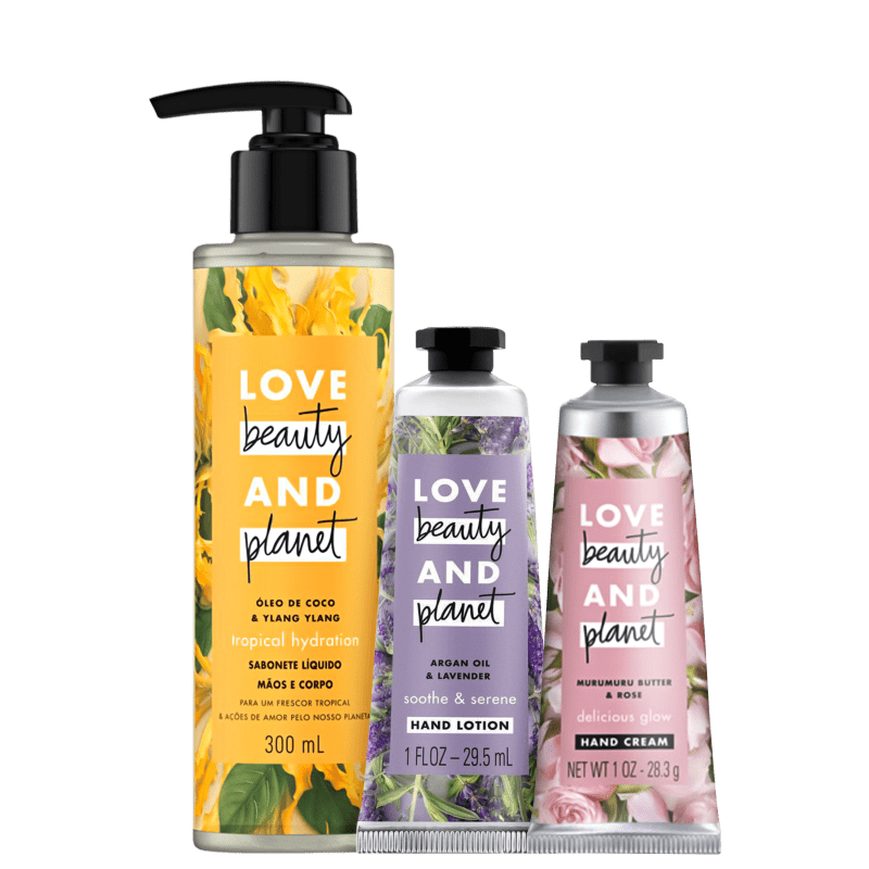 Kit Love, Beauty and Planet - Sabonete líquido Tropical Hydration + Creme de Mãos Soothe and Serene + Creme de Mãos Delicious Glow